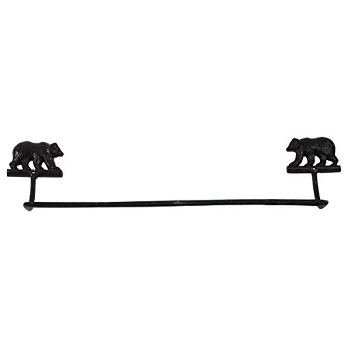 Towel Racks Cabin - Black Cast Iron Grizzly Bear Bath Towel Bar Holder Rack Rustic Cabin/Lodge Decor