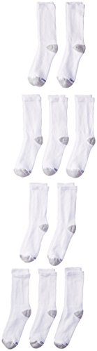Hanes Ultimate Boys' 10-Pack Crew Socks, White, Large -  Sh