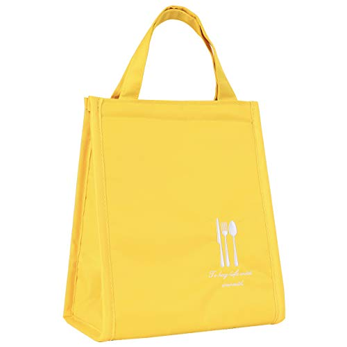 (HOMESPON Reusable Thermal Lunch Bag Insulated Lunch Tote Premium Quality Water Proof Fabric Lunch Box Spacious Foldable Picnic Cooler Bag Cute Handbag for Women, Adult, Student (size S(yellow)))
