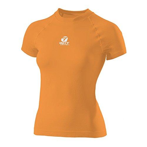 sin costuras cuello 666s90 naranja Camiseta mujer Act Seven redondo para TqxBd