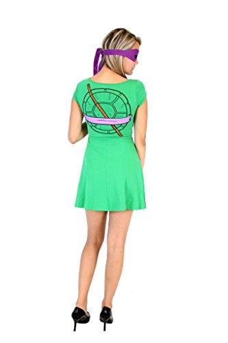 Teenage Mutant Ninja Turtles Donatello Costume Skater Dress (Juniors Medium) by Mighty Fine (Image #1)