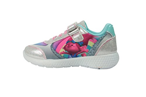 Girls Trolls Silver Glitter Sports Canvas Trainers Shoes Hook & Loop UK Size (Silver Shoes Trainers)