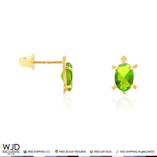 14k Yellow Gold CZ Oval Birthstone Turtle Screw Back Stud Kid Earrings, Peridot (Turtle Peridot)