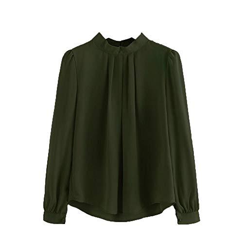 HGWXX7 Women Tops Lantern Long Sleeve Loose Chiffon Work Office T-Shirt Blouse(L,Army Green)