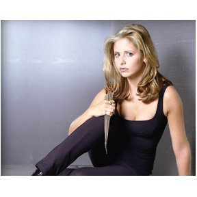 Sarah Michelle Geller 8x10 Photo Buffy the Vampire Slayer Ringer with a stake
