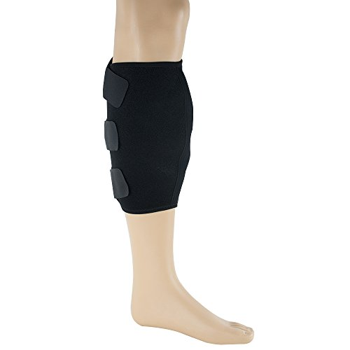 Calf Support Brace 1 Pack - Elastic & Breathable Knitted Fabric - Adjustable Shin Splint Compression Calf Wrap by CARESHINE