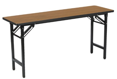 KFI Seating Folding Utility/Training Table with Medium Oak Top, Commercial Grade, 18-Inch by 72-Inch, Black Frame - Thermofused Melamine Top Folding Table