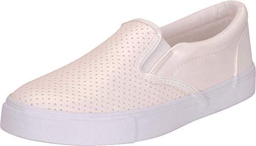 Cambridge Select Women's Round Toe Perforated Laser Cutout Slip-On Flatform Fashion Sneaker (7 B(M) US, White PU)