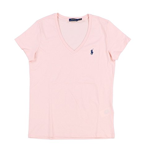Polo Ralph Lauren Womens V-Neck Jersey T-Shirt (Medium, Peach) (Lauren Jersey Ribbed Ralph)