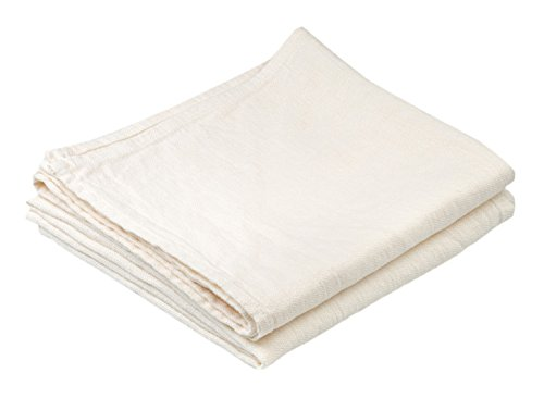 BLESS LINEN Stonewashed Pure Linen Hand Kitchen Towel, 16 x 30 Inches, Set of 2, White
