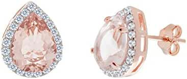 NYC Sterling Women 9x7 Rose Gold Cubic Zirconia Pear Simulated Morganite Halo Stud Earring