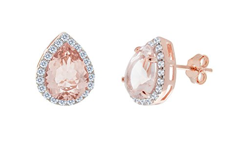 NYC Sterling Women Rose Gold Plated Cubic Zirconia Pear Simulated Morganite Halo Stud Earring (Pear) (Earrings Plated Gold Pear)