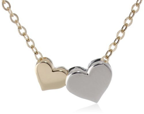 """14k Two Tone Gold Colored Heart Necklace, 18"""""""