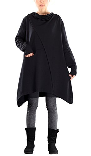 Mordenmiss Women's Pile Collar Sweatshirt Twill Asymmetry Baggy Midi Dress Pullover L - Tent Spring Person