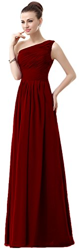 VaniaDress Women One Shoulder Chiffon Long Bridesmaid Dress Prom Gonws V006LF Burgundy US26W