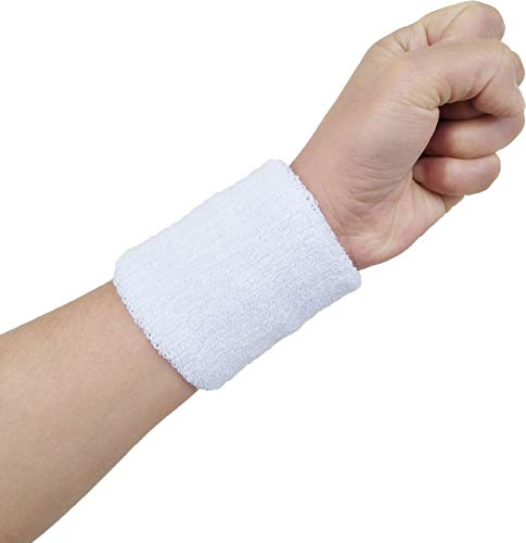Hycome Wrist Sweatband in 14 Different Colors - Athletic Cotton Terry Cloth Wristbands Armbands(White 5 Pairs, Large)