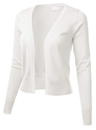 White Off Sweater Cardigan (Womens Long Sleeve Open Front Texture Panel Cropped Cardigan Ivory M)