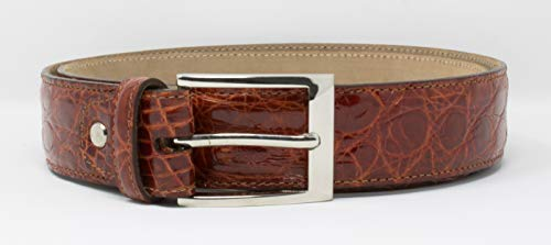 Genuine Caiman Crocodile Belt Skin Handmade by D'ADDARIO LEATHER - Classic Silver Buckle (Gold, X-Large)
