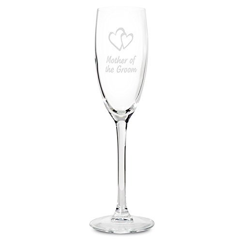 'Mother Of The Groom' Glass Champagne Flute With Heart Motif- Ideal Wedding Gift