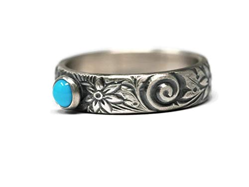 (Sleeping Beauty Turquoise 4mm and 925 Sterling Silver Ring on Floral Pattern Band in Antique Finish)