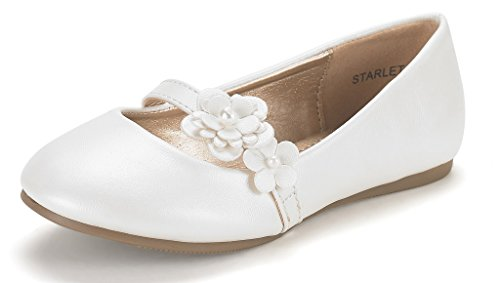 DREAM PAIRS Starlet Adorable Mary Jane Side Flowers Casual Slip On Ballerina Flat (Toddler/Little Girl) New Ivory Size (Flower Girl Dress Shoes)