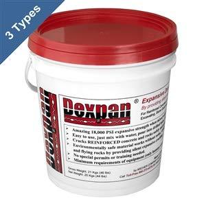 Dexpan Expansive Demolition Grout 44 Lb. Bucket for Rock Breaking, Concrete Cutting, Excavating. Alternative to Demolition Jack Hammer Breaker, Jackhammer, Concrete Saw, Rock Drill (DEXPAN44BKT1)