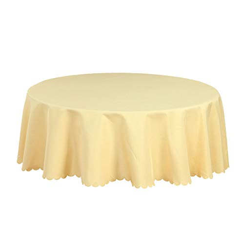 uxcell Light Yellow Seamless Round Tablecloth Cover Water/Oil Stain Resistant 63 Inch for Wedding Dining Party Decor from uxcell