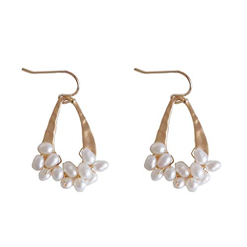 INOOY Collar Net Yarn Bright Piece Temperament Short Money Ring Retro Exaggerated Earrings Water Pearl Earrings,Gold