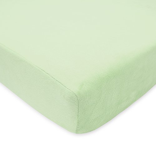 (American Baby Company Heavenly Soft Chenille Fitted Crib Sheet for Standard Crib and Toddler Mattresses, Celery, for Boys and)