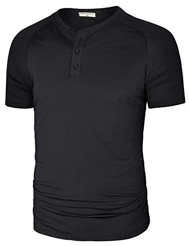 Derminpro Men's Regular Fit Casual Basic Button-up Dry Fit Short Sleeve Henley T-Shirt Black XX-Large ()
