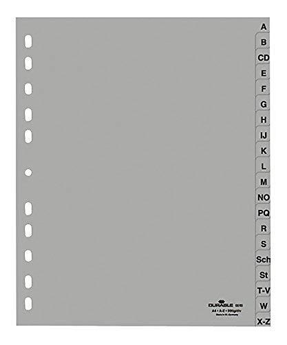 20er Maxi Sparpack Durable Ordnerregister DIN A4, A-Z, grau, 20 Stück, 6520-10 (20) B01MSR891R   Modern