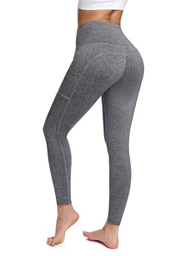 Olacia Yoga Pants with Pocket High Waisted Tummy Control Workout Leggings, Heather Grey, Medium