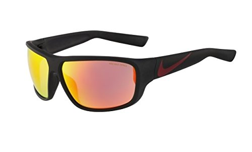 Nike Grey with Mild Red Flash Lens Mercurial 8.0 R Sunglasses, Matte Black/Gym - Nike 8.0 Mercurial