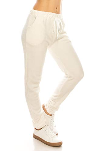 - ALWAYS Women Fuzzy Plush Joggers - Super Soft Winter Warm Elastic Waistband Drawstrings Pockets Sweatpants Ivory L