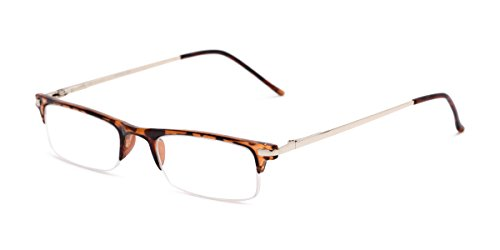 (Readers.com Fully Magnified Reading Glasses: The Bishop, Half Frame Reader with Metal and Plastic Frame for Women and Men - Tortoise, 2.00)