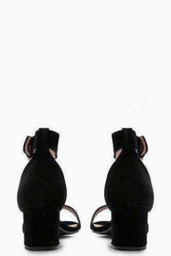 Schwarz Damen Abigail Zweiteilige Sandalen Mit Fesselriemchen Und Niedrigem Blockabsatz Schwarz
