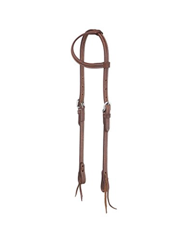 Headstall Tie Ends - Tough-1 Dbl Stitch Harness One Ear Headstall w/Tie