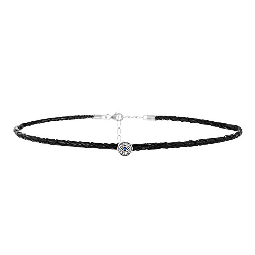 (WILLOWBIRD Cubic Zirconia Evil Eye Black Braided Simulated Leather Choker Necklace for Women in Rhodium Plated 925 Sterling Silver)