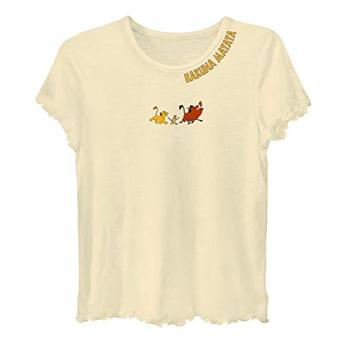 Lettuce Edge Shirt - Disney Ladies Lion King Fashion Shirt - Ladies Classic Hakuna Matata Clothing Lion King Logo Lettuce Edge Short Sleeve Tee (Ivory, Small)