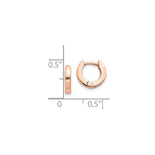 14K Rose Gold 11mm Round Flat Hinged Huggie Hoop Earrings