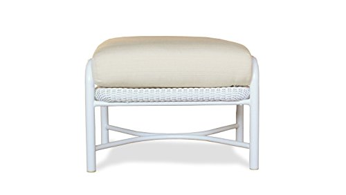 Lloyd Flanders 72217-001-922 Freeport Collection Ottoman in White Loom Finish, Canvas Air Blue (Lloyd Flanders Wicker)