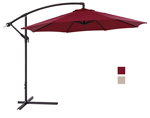 Finnhomy Canopy Patio Umbrella Sturdy 8 Ribs 10 Ft Large Strong Aluminum Pole UV Resistant 250 GSM Fabric Offset w Crane Wind Air Vent Tilt Outdoor Garden Pool Sun Shade Market Cantilever Burgundy Red For Sale