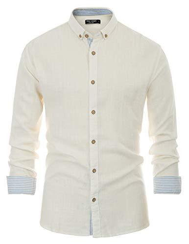 PAUL JONES Men's Long Sleeve Button Down Casual Shirt Linen Shirts Off White, S ()