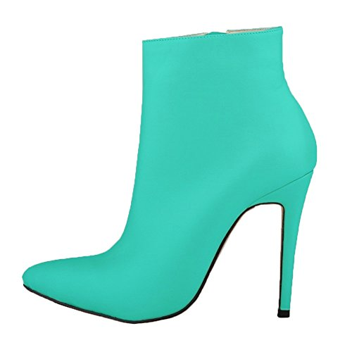 HooH Damen Stiefeletten Reißverschluss Spitze Zehe High Heel Kurze Stiefel Grün