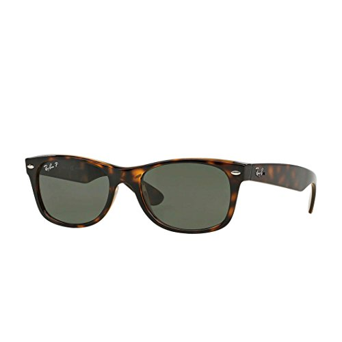 Ray-Ban Unisex New Wayfarer Polarized Sunglasses, Tortoise Frame/Green Polarized Lenses, Green Classic G-15 Polarized, 52mm (G15 Lens Sunglasses)