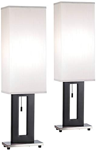 (Floating Rectangle Modern Table Lamps Set of 2 Black Base Tall Box Shade for Living Room Family Bedroom Bedside Nightstand - 360 Lighting)