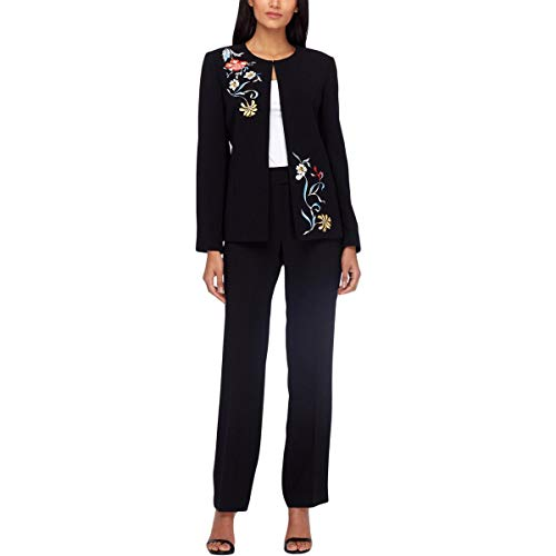 Tahari ASL Womens Petites 2PC Embroidered Pant Suit Black 6P