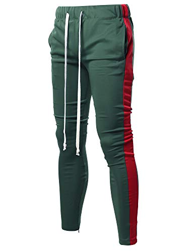 Style by William Casual Side Panel Long Length Drawstring Ankle Zipper Track Pants Green Red M
