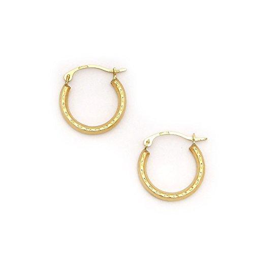 (14k Yellow Gold 2mm Small Diamond Cut Hoop Earrings, 15mm (5/8