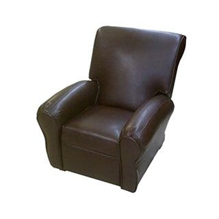 Dozydotes Big Kid's Club Recliner Chair - Pecan (Leather Like Childrens Recliner)